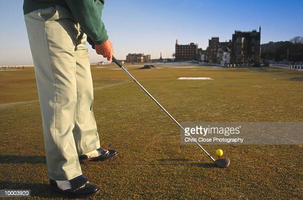 GOLFER AT SAINT ANDREWS IN SCOTLAND IN DETAIL