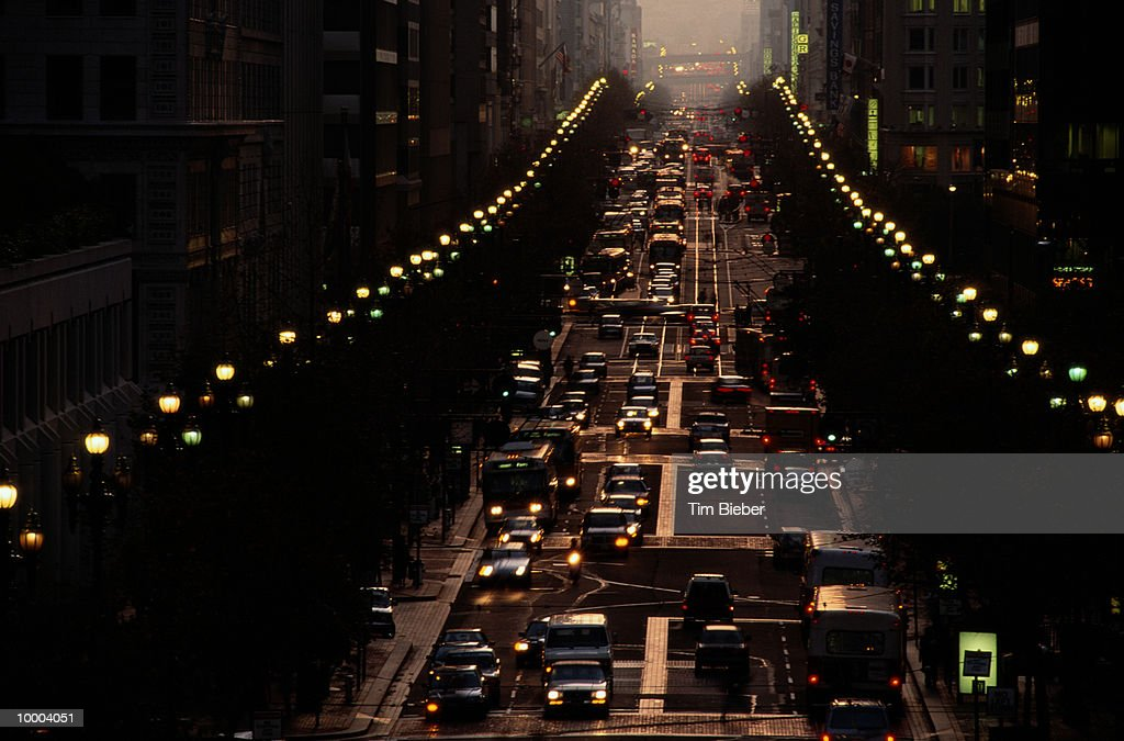 CITY STREET AT DUSK IN SAN FRANCISCO : Stock Photo