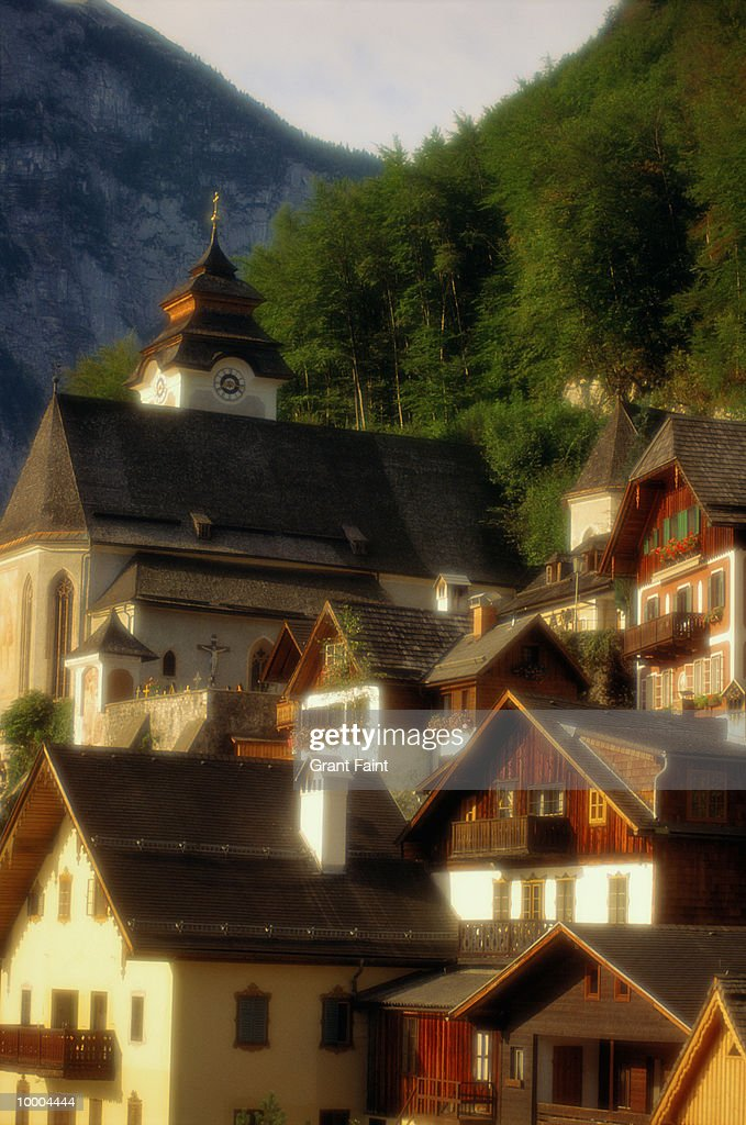 CHURCH & BUILDINGS IN HALSATT, AUSTRIA : Stock Photo