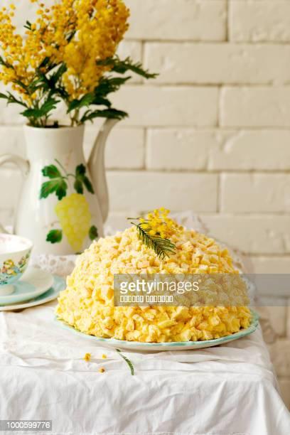italian mimosa cake - mimosa foto e immagini stock