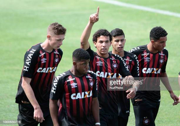 Bruno Leite of Atlético Paranaense celebrates with his teammates the first goal Soccer International Cup Universitario de Deportes vs Atletico...