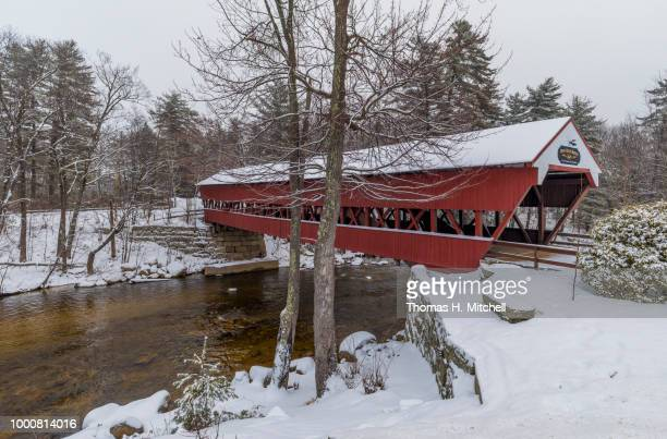 nh-#47-conway-swift river bridge - swift river stock photos and pictures