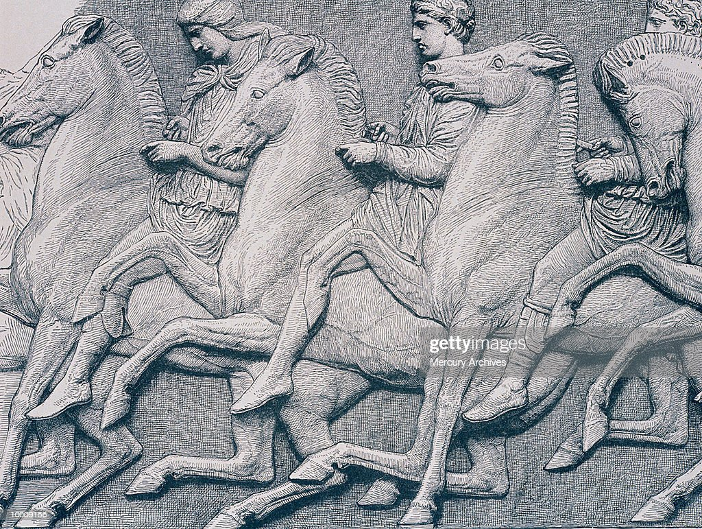 ART: HORSES FROM THE PARTHENON FRIEZE : Foto de stock