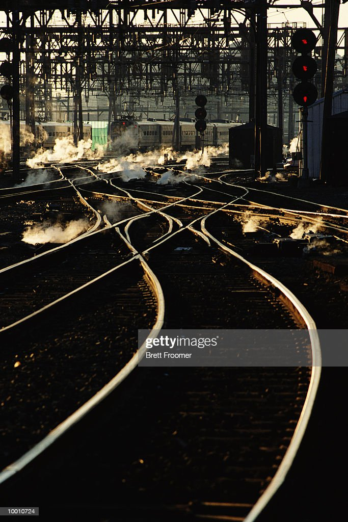 RAILROAD TRACKS AT SWITCHING YARD : Foto de stock