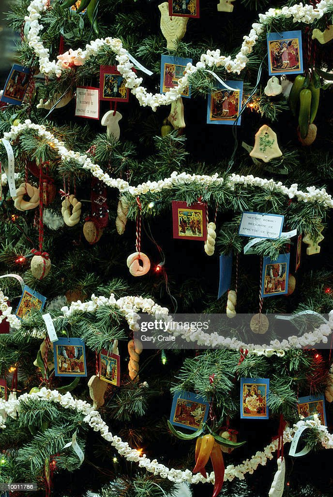 DECORATED CHRISTMAS TREE IN MACEDONIA IN DETAIL : Stock Photo