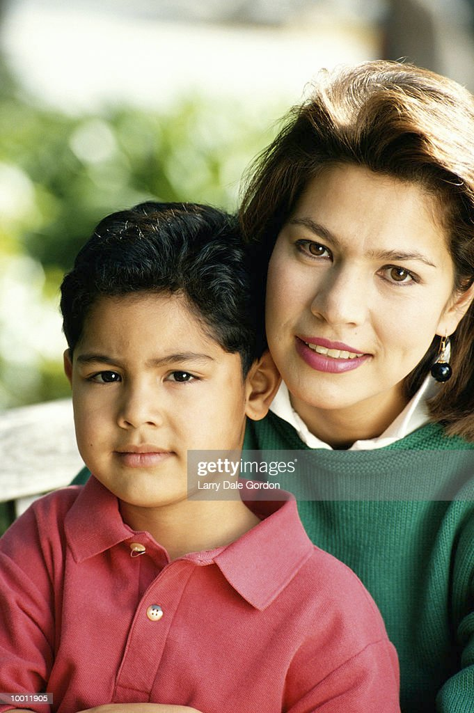 PORTRAIT OF A HISPANIC MOTHER & SON : Stock Photo