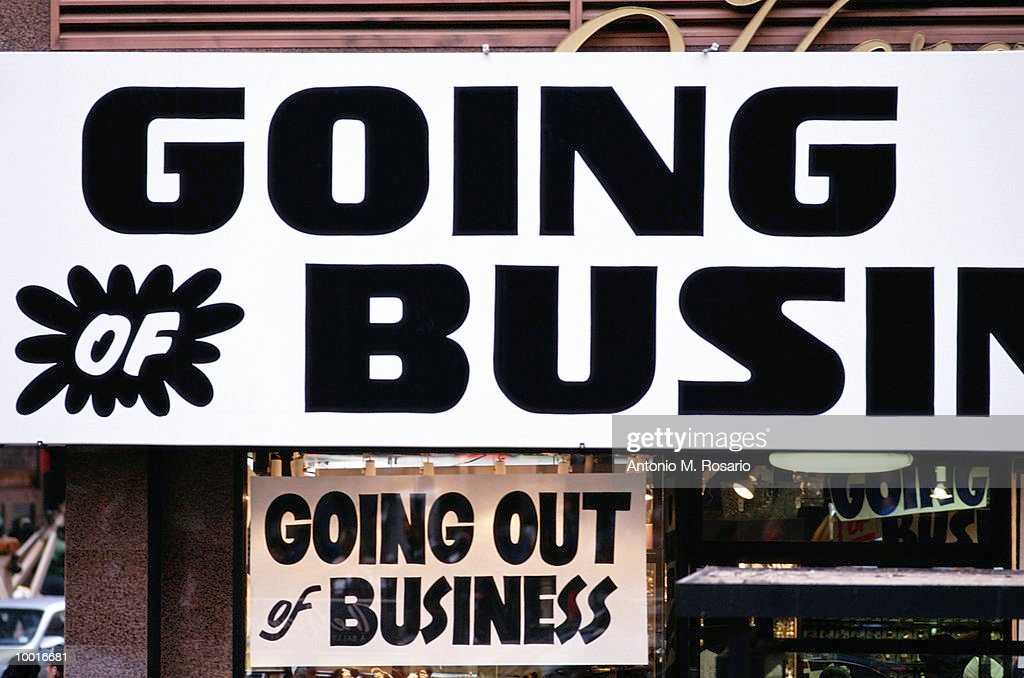 GOING OUT OF BUSINESS SIGN IN NEW YORK CITY : Stock Photo