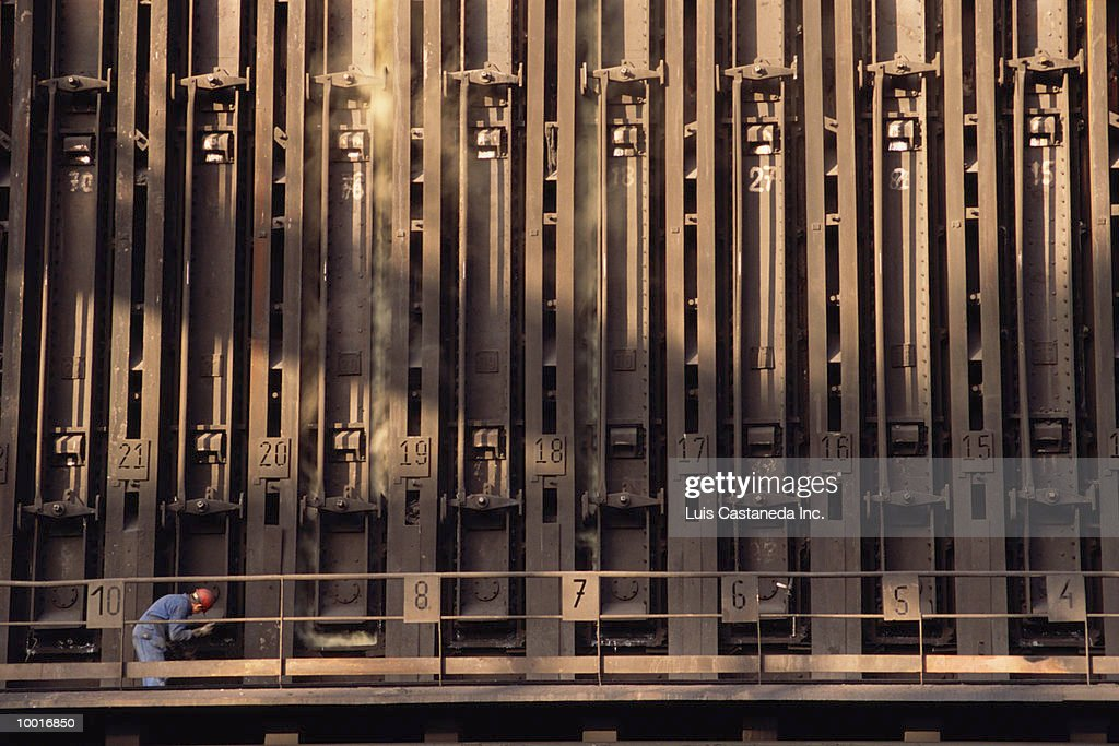 COKE FURNACE AT ENSIDESA METALWORKS IN SPAIN : Stock Photo