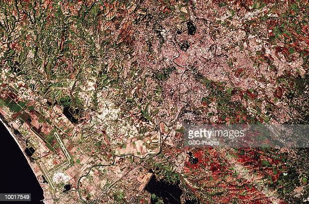 satellite image of rome region of italy - capital cities stock pictures, royalty-free photos & images