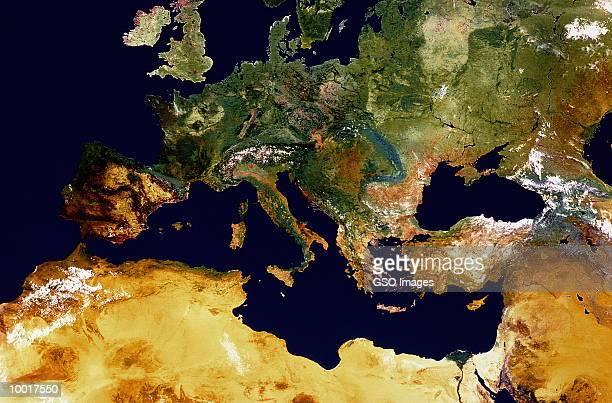 satellite image of europe, n. africa, and uk - 地図学 ストックフォトと画像