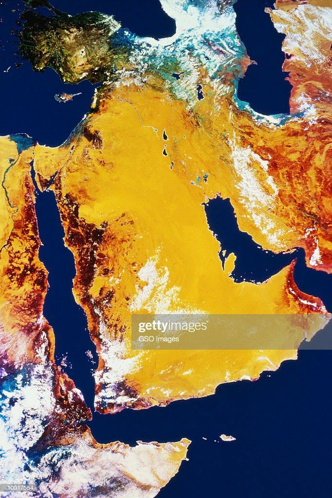 SATELLITE IMAGE OF SAUDI ARABIA : Stock Photo