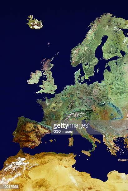satellite image of united kingdom & europe - image stock pictures, royalty-free photos & images