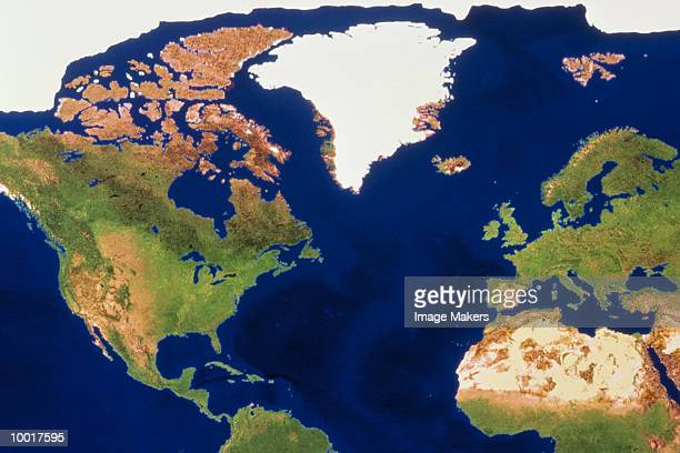 satellite photo of the americas & europe - north america stock pictures, royalty-free photos & images