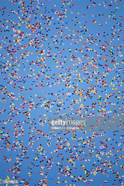 BALLOONS RELEASED IN CLEAR BLUE SKY IN INDIANA