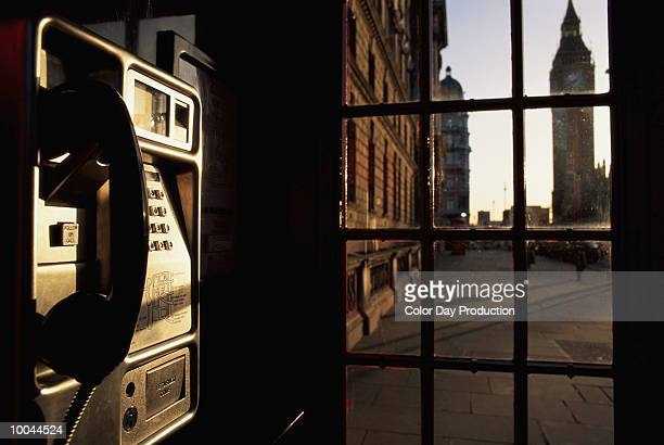 PUBLIC TELEPHONE AND BIG BEN IN LONDON
