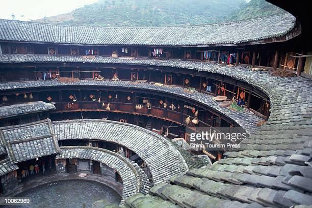 INSIDE OF EARTHEN HOUSE, YONGDING, FUJIAN, CHINA