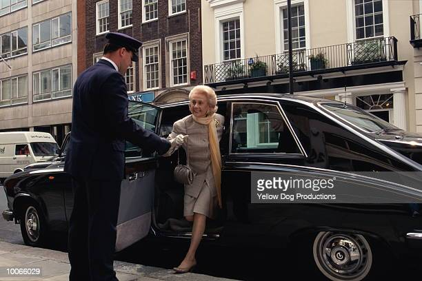 LIMO FOR OLDER WOMAN IN BOND STREET, LONDON, UK