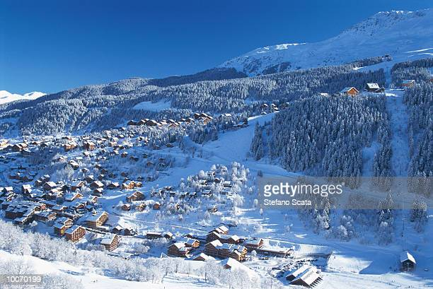 view of meribel in savoy in france - meribel stock photos and pictures
