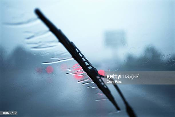 bad weather on highway detail in france - windshield wiper stock photos and pictures