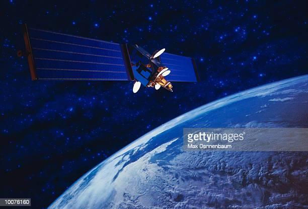 telecommunications satellite and earth - 人工衛星 ストックフォトと画像
