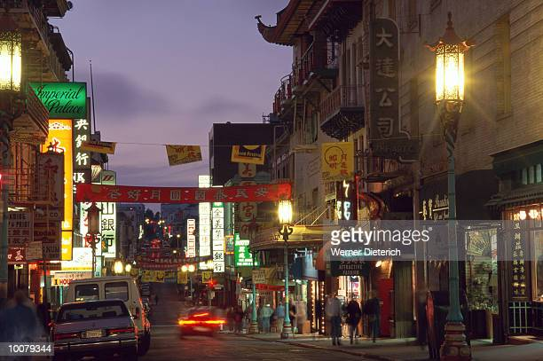 china town at night in san francisco, california - san francisco chinatown stock photos and pictures