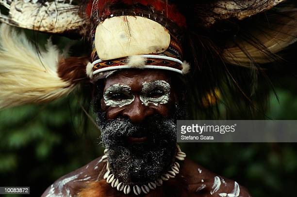 typical costume at kaming village in papua, new guinea - papua new guinea stock pictures, royalty-free photos & images