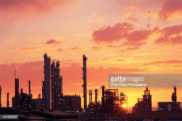 SUNSET IN GRANGEMOUTH OIL REFINERY, SCOTLAND
