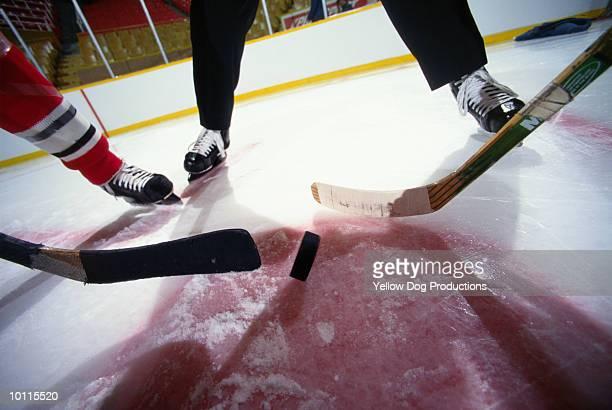 puck dropped for hockey face off - アイスホッケースティック ストックフォトと画像