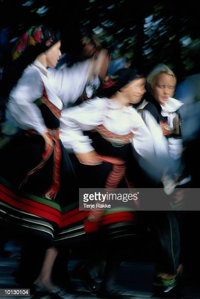 norwegian folkdance, norway - traditional dancing stock photos and pictures
