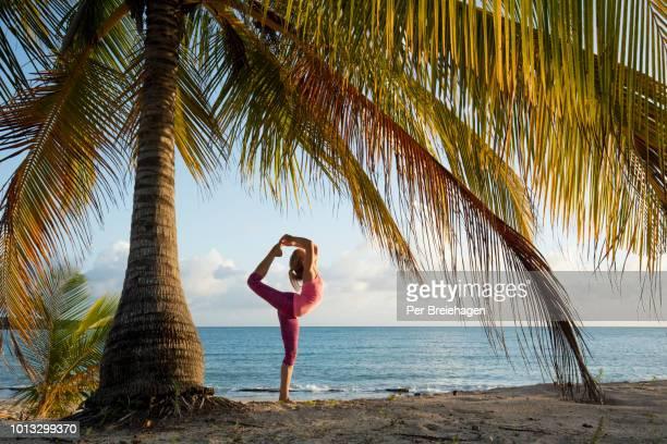 yoga at the beach_sun bay beach_vieques_puerto rico - paisajes de puerto rico fotografías e imágenes de stock