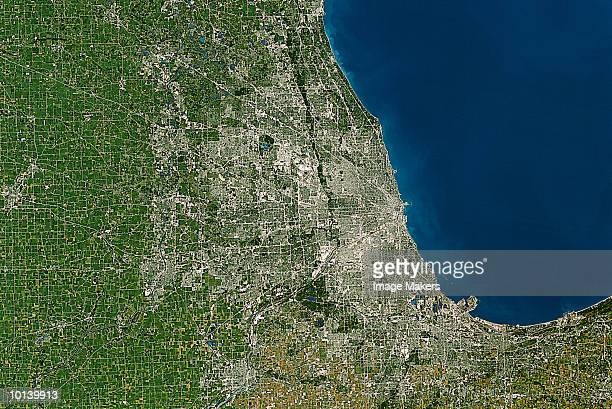 usa, satellite image, chicago - chicago illinois stock pictures, royalty-free photos & images