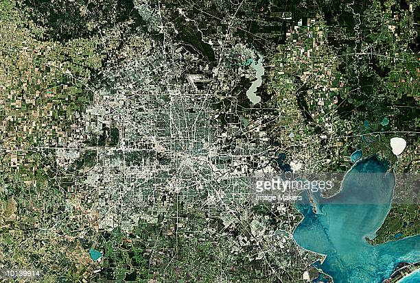 usa, satellite image, houston - image stock pictures, royalty-free photos & images