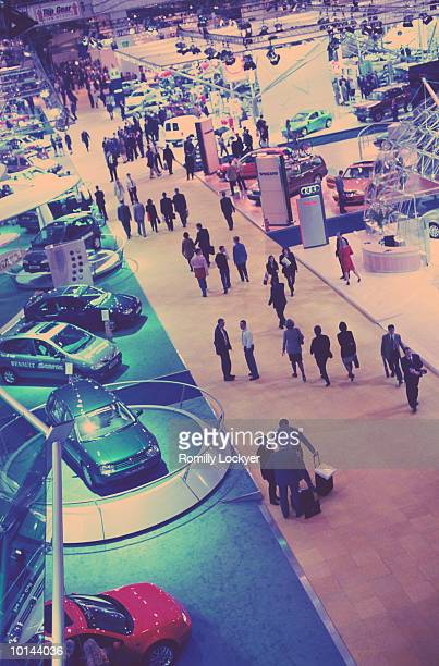 london motor show, aerial, cars exhibition - exhibition stock pictures, royalty-free photos & images