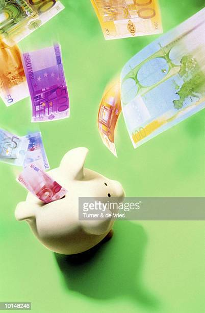 EURO CURRENCY FALLING INTO PIGGY
