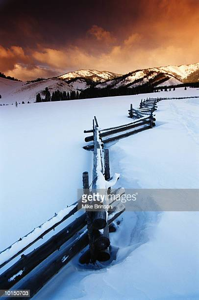 WOODEN FENCE IN SNOW VALLEY IDAHO