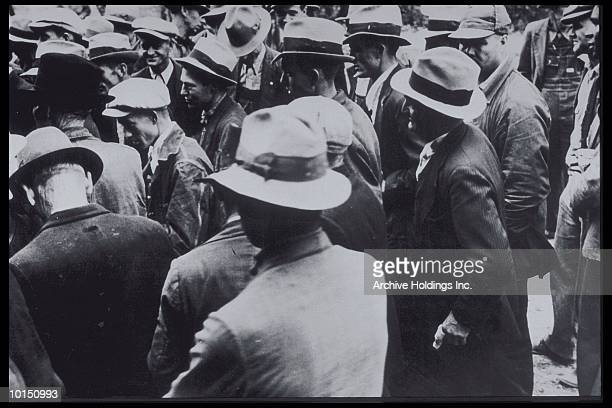 CROWD OF MEN, 1930, JACKETS AND HATS