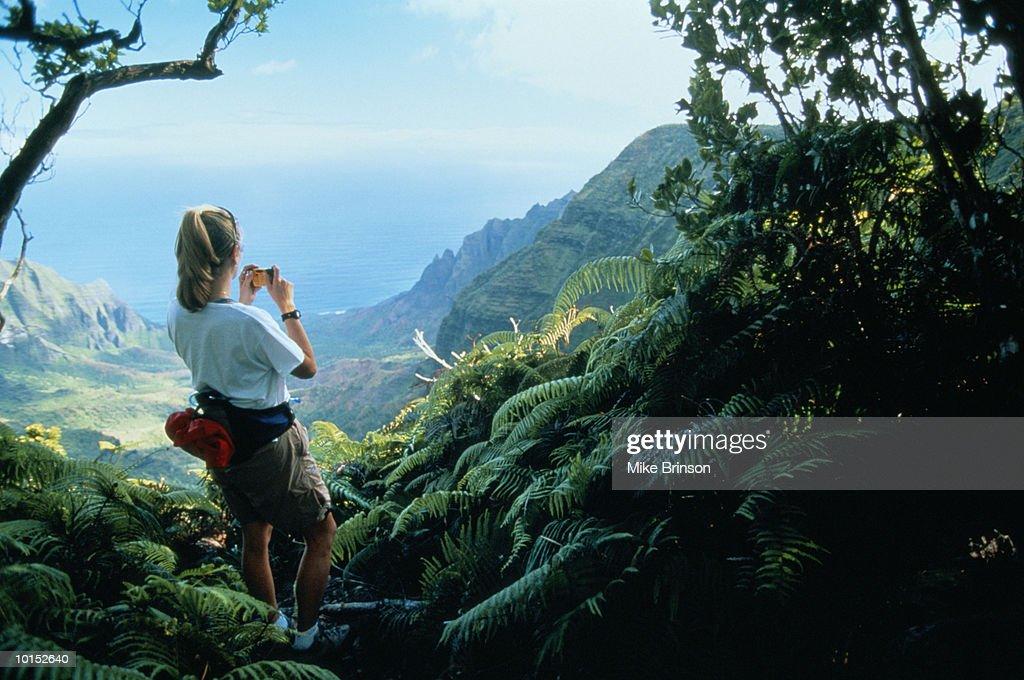 WOMAN HIKING NA PALI COAST, KAUAI, HAWAII : Stockfoto