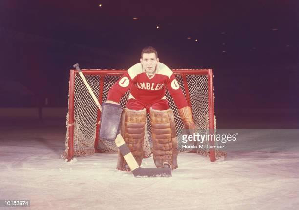AN ICE HOCKEY GOALIE, 1950S