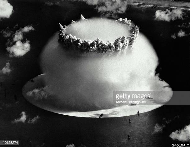 AERIAL VIEW OF ATOMIC EXPLOSION