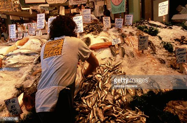 pike place market, waterfront, seattle - pike fish stock pictures, royalty-free photos & images