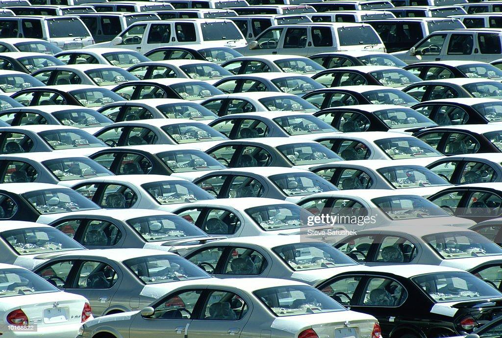 OFFLOADED IMPORT CARS ON DOCK, SEATTLE, WASHINGTON : Stock Photo
