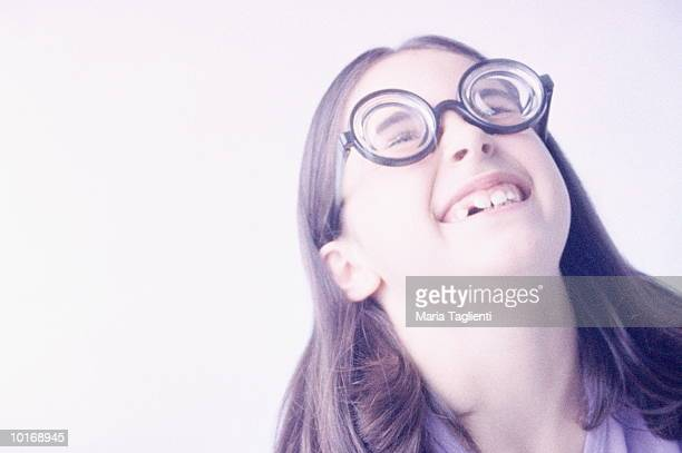 little girl with glasses - thick girls stock photos and pictures