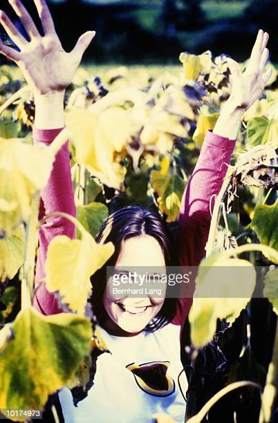 young woman in sunflower field - cross processed stock pictures, royalty-free photos & images