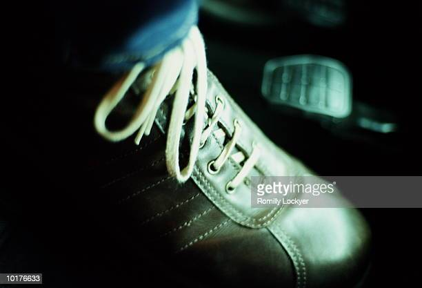car drivers foot on the pedal - pedal stock pictures, royalty-free photos & images