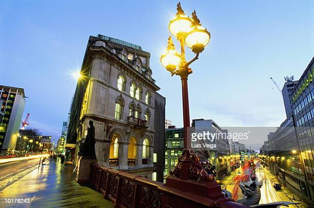 england, london, holborn viaduct, street at evening - holborn stock pictures, royalty-free photos & images