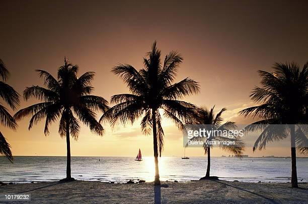 SUNSET OVER BEACH AT KEY BISCAYNE, FLORIDA, USA