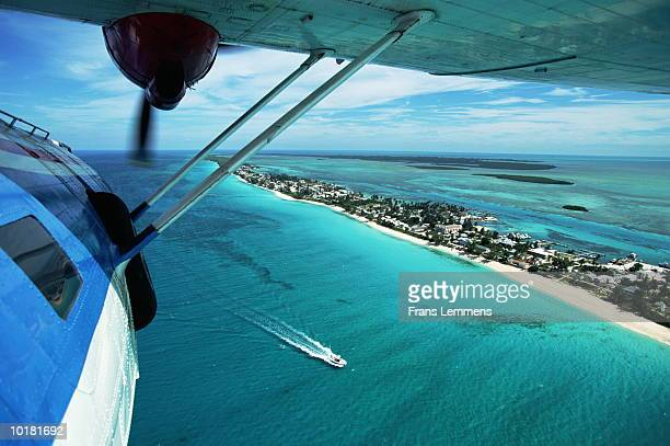 aerial view of bimini island, from plane, bahamas - bimini stock photos and pictures