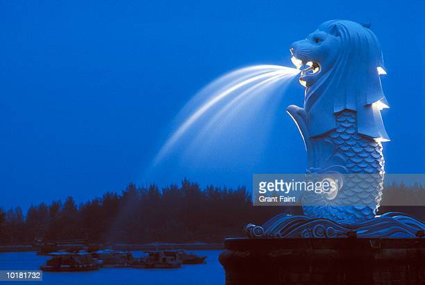 merlion fountain in singapore - merlion stock pictures, royalty-free photos & images