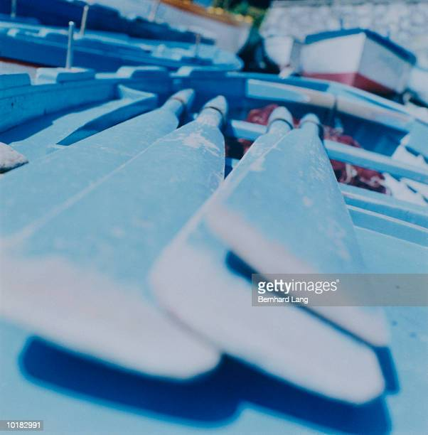 oars in fishing boat, amalfi coast, italy - cross processed stock pictures, royalty-free photos & images