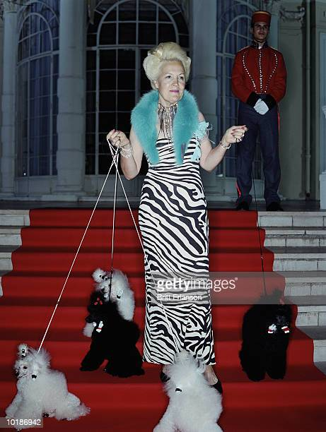 MATURE, GLAMOROUS WOMAN WITH POODLES